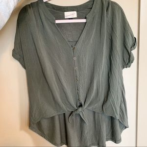 Universal Thread High Low Olive Green Top